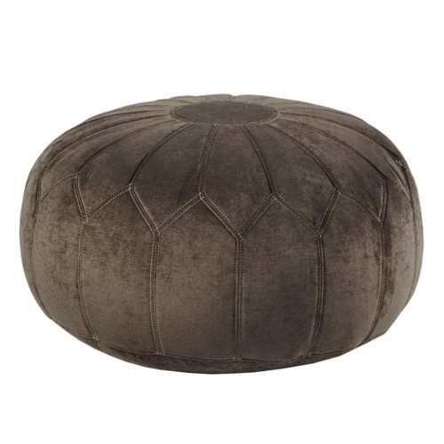 Brown Kelsey Round Pouf Ottoman (Brown Kelsey-Benches)