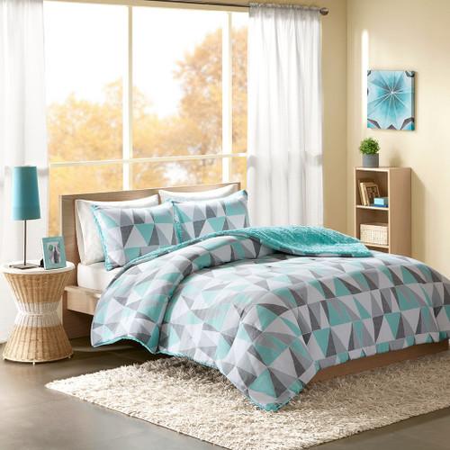 Aqua Grey & White Reversible Geometric Comforter AND Decorative Sham (Ellie-Aqua)