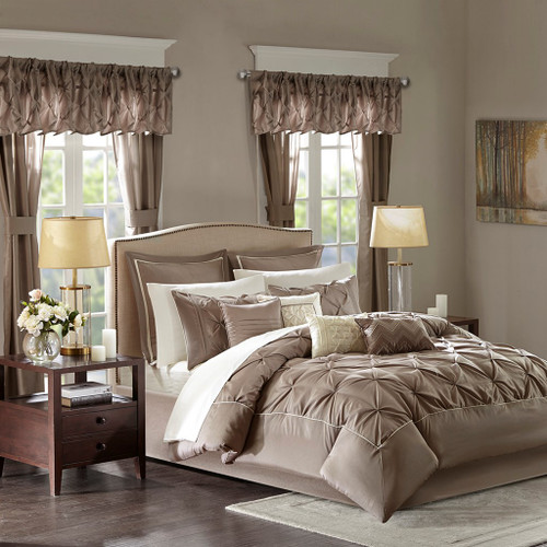 24pc Mushroom Brown Tufted Comforter Set, Sheets, Pillows, Curtains AND More (Joella-Mushroom)