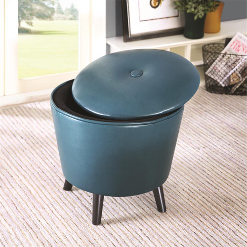 Crosby Blue Storage Ottoman (Crosby Blue -Benches)