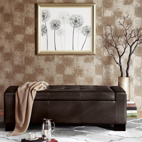 Mirage Brown Tufted Top Storage Bench (Mirage Brown-Benches)