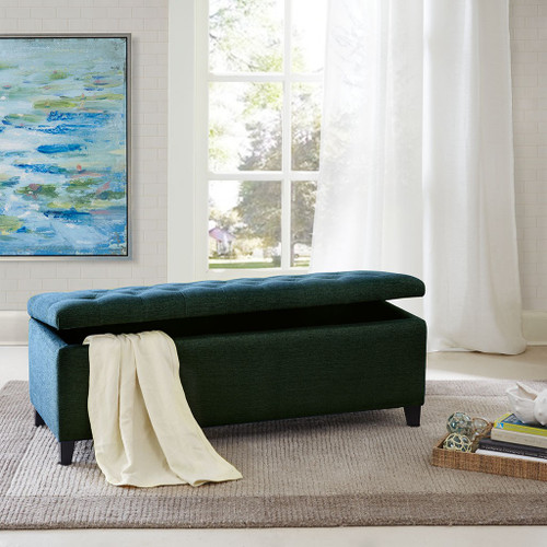 Shandra Blue Tufted Top Storage Bench (Shandra Blue Benches)