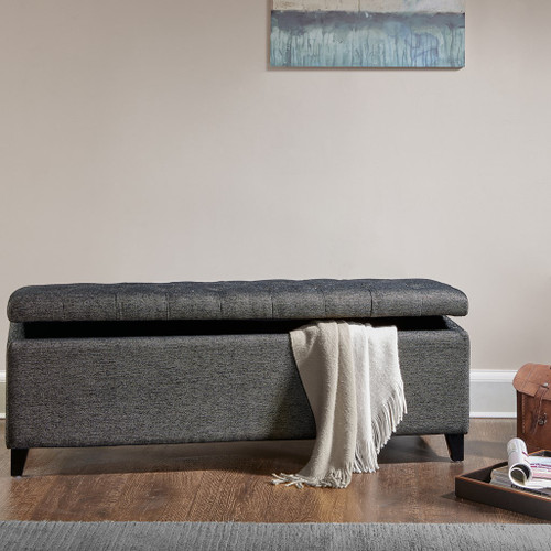 Shandra Charcoal Tufted Top Storage Bench (Shandra Charcoal-Benches)