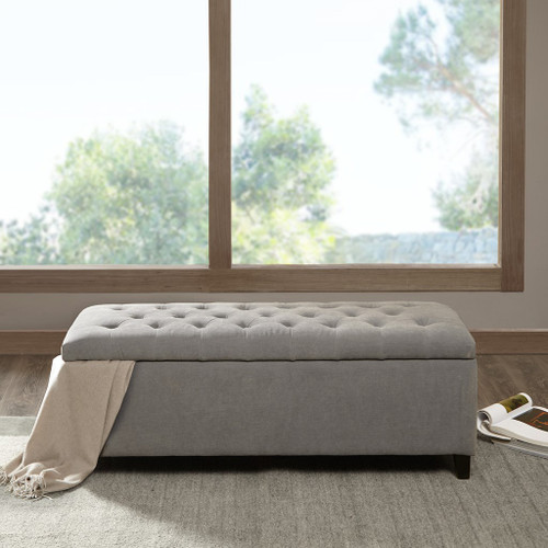 Shandra Grey Tufted Top Storage Bench with Rich Wooden Legs
