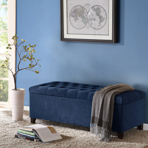Shandra Navy Blue Tufted Top Storage Bench with Rich Wooden Legs