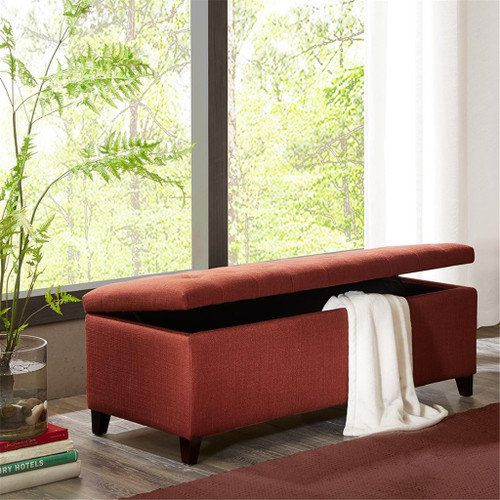 Shandra Rusted Red Tufted Top Storage Bench with Rich Espresso Legs