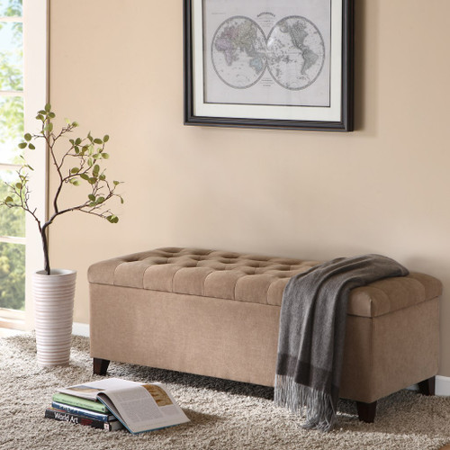Shandra Sand Tufted Top Storage Bench (Shandra Sand-Benches)