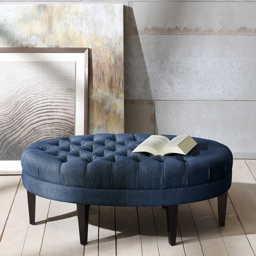 Martin Blue Textured Button Tufted Top Surfboard Ottoman
