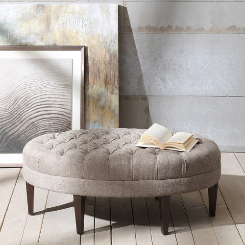 Martin Light Grey Surfboard Tufted Ottoman (Martin Light Grey-Benches)