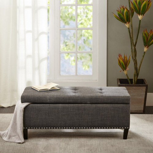 Shandra II Charcoal Grey Button Tufted Top Storage Bench w/Black Legs