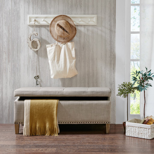 Shandra II Natural Tufted Top Storage Bench (Shandra II Natural-Benches)