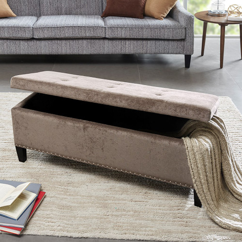 Shandra II Taupe Tufted Top Storage Bench (Shandra II Taupe-Benches)