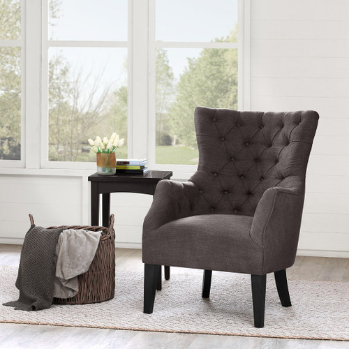 Brown Hannah Button Tufted Herringbone Wing Back Chair w/Tapered Legs (Hannah-Brown-Chair)