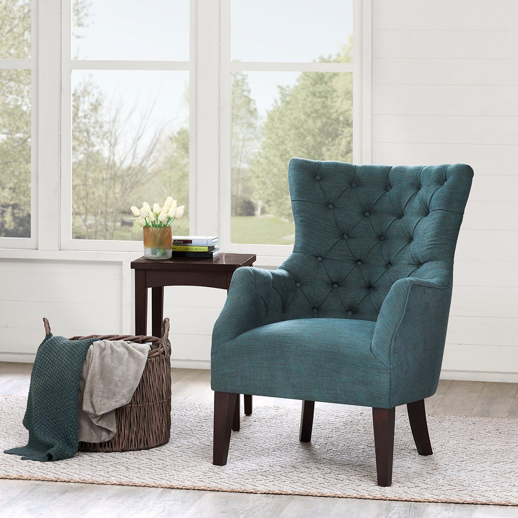 Green Hannah Button Tufted Herringbone Wing Back Chair w/Tapered Legs (Hannah-Green-Chair)