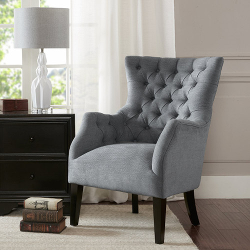 Grey Hannah Button Tufted Herringbone Wing Back Chair w/Tapered Legs (Hannah-Grey-Chair)