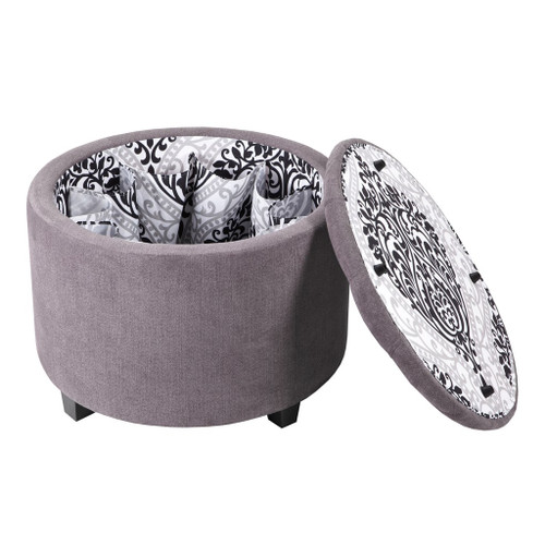 Sasha Grey Round Ottoman with Shoe Holder Insert (Sasha Grey-Benches)