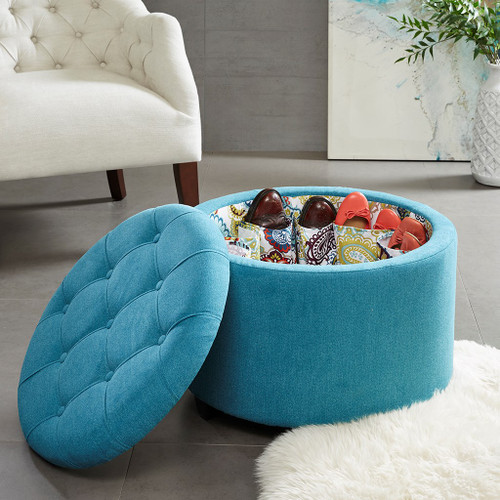 Sasha Teal Round Ottoman with Shoe Holder Insert (Sasha Teal-Benches)