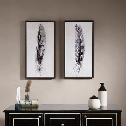 Flight Feathers Framed Gel Coated Canvas 2 Piece Set
