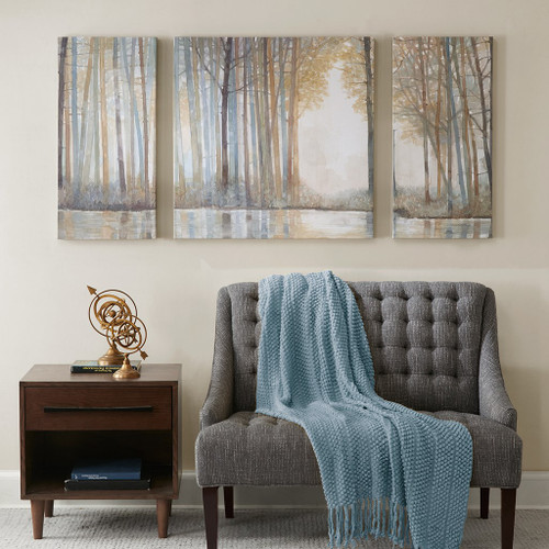 3pc Blue & Brown Forest Reflections Gel Coated Canvas Wall Art ( Forest Reflections-Art)