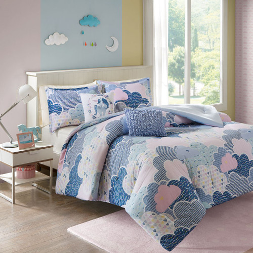 Blue Purple & Pink Playful Clouds Comforter Set AND Decorative Pillows (Cloud-Blue)