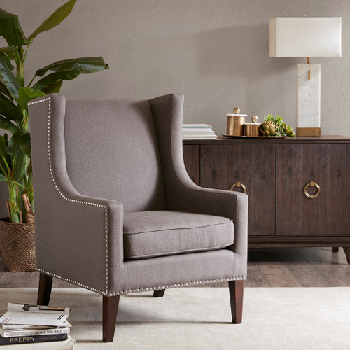Charcoal Brown Barton Herringbone Wing Back Chair w/Wood Legs (Barton-Charcoal-Chair)