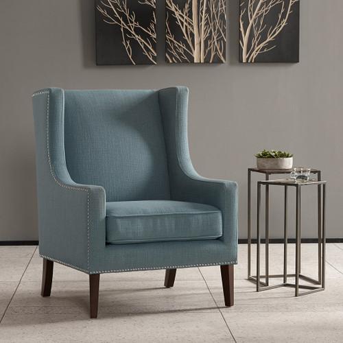 Soft Blue Barton Nailhead Trim Wing Back Chair w/Wood Legs (Barton-Blue-Chair)