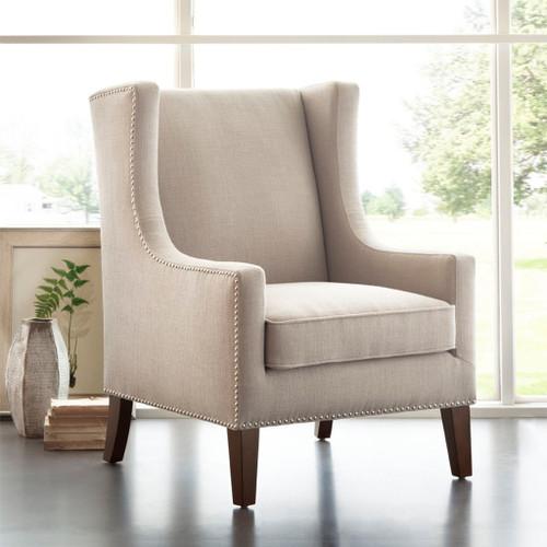 Tan Linen Barton Nailhead Trim Wing Back Chair w/Wood Legs (Barton-Linen-Chair)