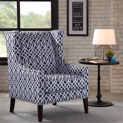 Navy Blue & White Barton Geometric Nailhead Trim Wing Back Chair w/Wood Legs (Barton-Navy-Chair)