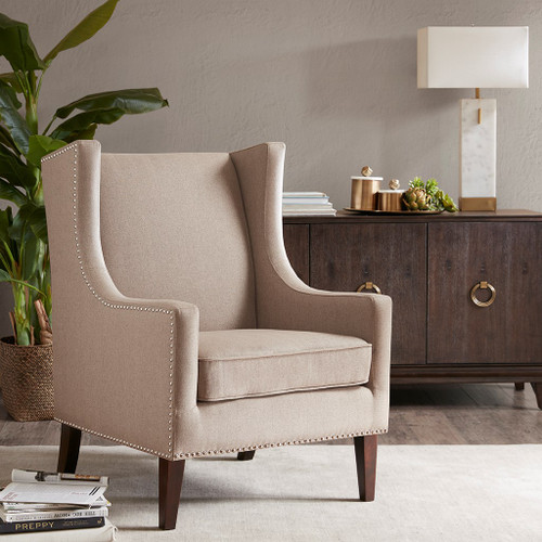 Taupe Barton Herringbone Wing Back Chair w/Wood Legs (Barton-Taupe-Chair)