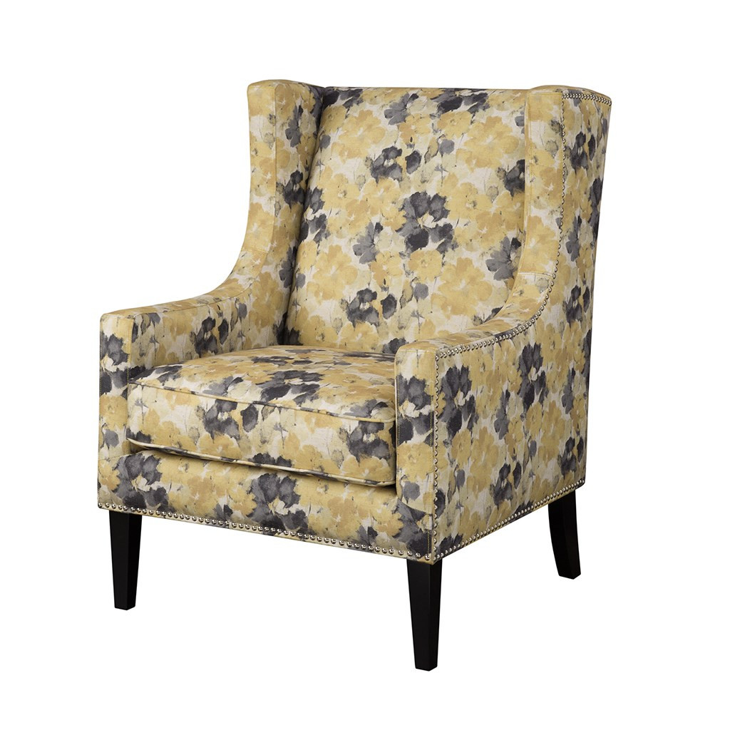 Yellow & Grey Barton Floral Wing Back Chair w/Wood Legs (Barton-Yellow-Chair)