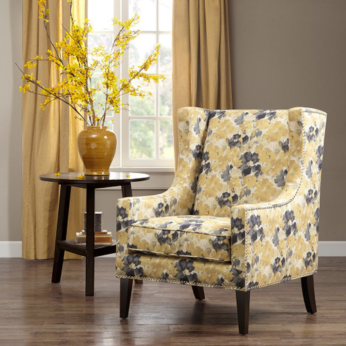 Yellow & Grey Barton Floral Wing Back Chair w/Wood Legs (Barton-Yellow-Chair)