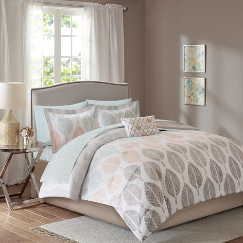 Coral Green & Grey Reversible Comforter Set AND Matching Sheet Set (Central Park-Coral/Green)