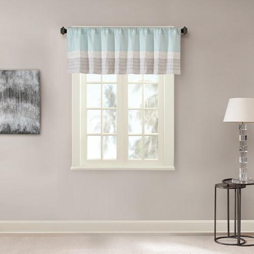 Aqua Grey & Ivory Pintucked Faux Silk Window Valance - Rod Pocket (Amherst-Aqua-val)