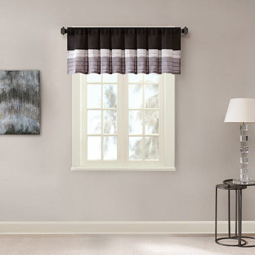 Black Grey & Silver Pintucked Faux Silk Window Valance - Rod Pocket (Amherst-Black-val)