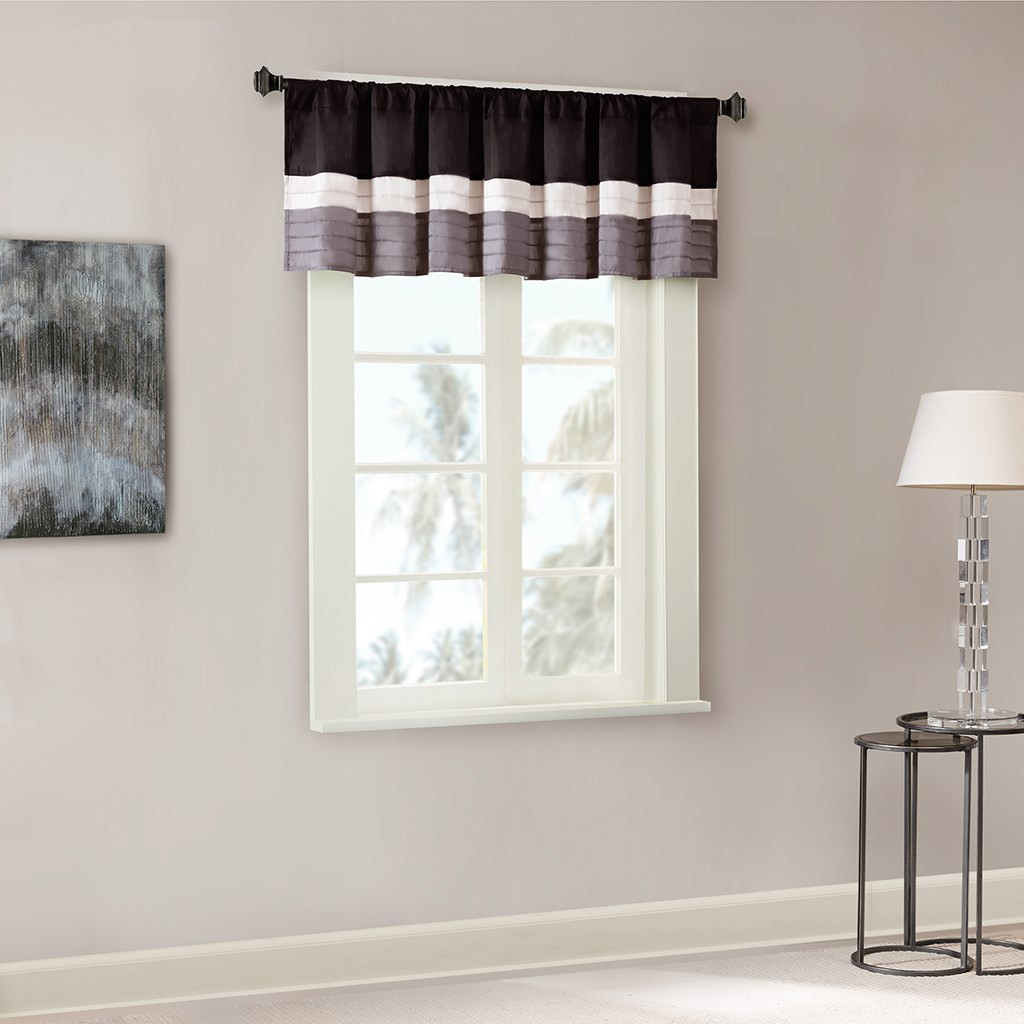 Black Grey & Silver Pintucked Faux Silk Window Valance - Rod Pocket (Amherst-Black-val)