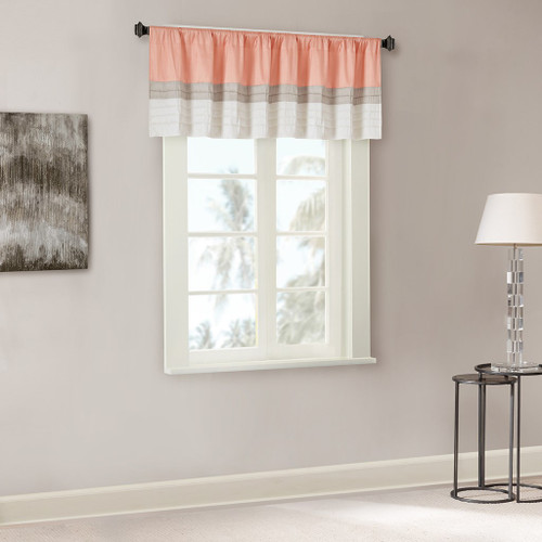Coral & Taupe Pintucked Faux Silk Window Valance - Rod Pocket (Amherst-Blue-val)