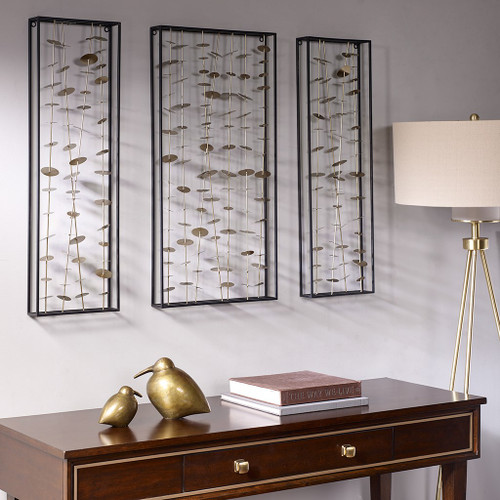 Set of 3 Clement Gold Metal Rods & Discs Wall Decor (Clement Gold-Decor)