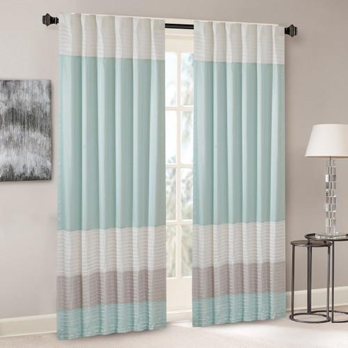 "Aqua Grey & Ivory Pintucked Faux Silk Curtain Panel w/Back Tabs - 50x84"" (Amherst-Aqua-Panel)"