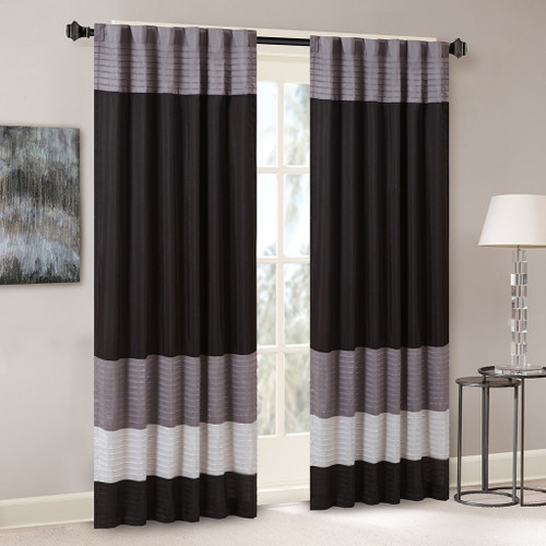 "Black Grey & Silver Pintucked Faux Silk Curtain Panel w/Back Tabs - 50x84"" (Amherst-Black-Panel)"