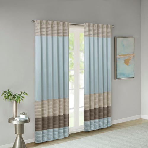 "Blue Taupe & Brown Pintucked Faux Silk Curtain Panel w/Back Tabs - 50x84"" (Amherst-Blue-Panel)"