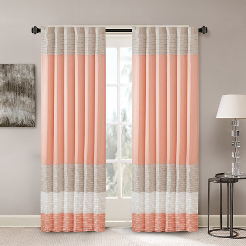 "Coral Taupe & Ivory Pintucked Faux Silk Curtain Panel w/Back Tabs - 50x84"" (Amherst-Coral-Panel)"