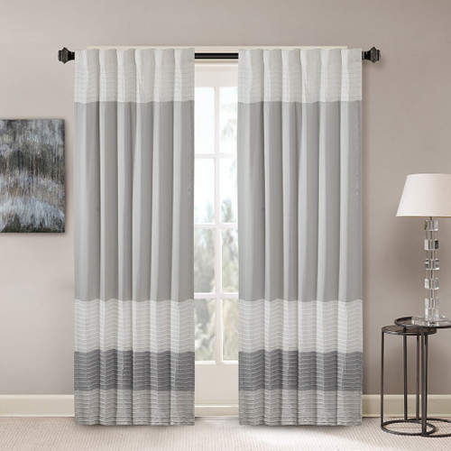 "Grey & Ivory Pintucked Faux Silk Curtain Panel w/Back Tabs - 50x84"" (Amherst-Grey-Panel)"