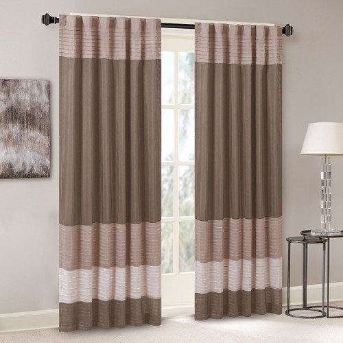 "Taupe & Brown Pintucked Faux Silk Curtain Panel w/Back Tabs - 50x84"" (Amherst-Natural-Panel)"