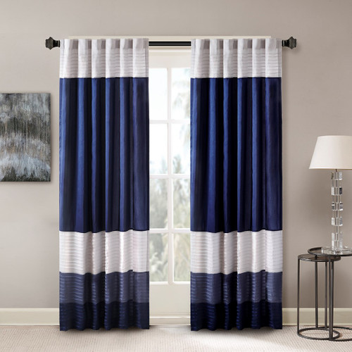 "Navy Blue Grey & Ivory Pintucked Faux Silk Curtain Panel w/Back Tabs - 50x84"" (Amherst-Navy-Panel)"