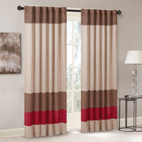 "Brown Tan & Red Pintucked Faux Silk Curtain Panel w/Back Tabs - 50x84"" (Amherst-Red-Panel)"