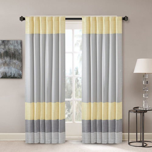 "Grey & Yellow Pintucked Faux Silk Curtain Panel w/Back Tabs - 50x84"" (Amherst-Yellow-Panel)"