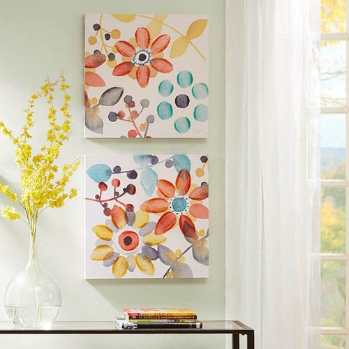 Sweet Florals Multi Canvas With Hand Embellishment 2 Piece Set (Sweet Florals Multi-Art)