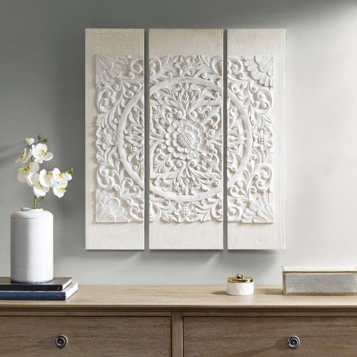 3pc Mandala White Rustic Wooden Charm Canvas Wall Art (Mandala-White-Art)
