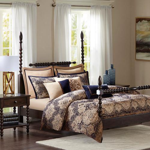 Gold & Blue Damask Jacquard Woven Comforter Set AND Decorative Pillows (Wellington-Blue)