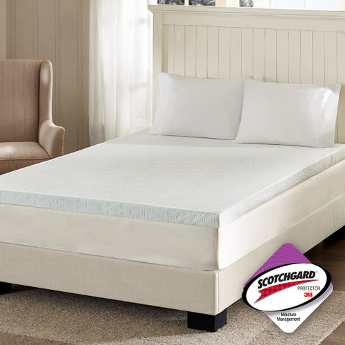 "3"" White Memory Foam Mattress Topper w/3M Moisture Management (3"" Memory Foam-Topper)"